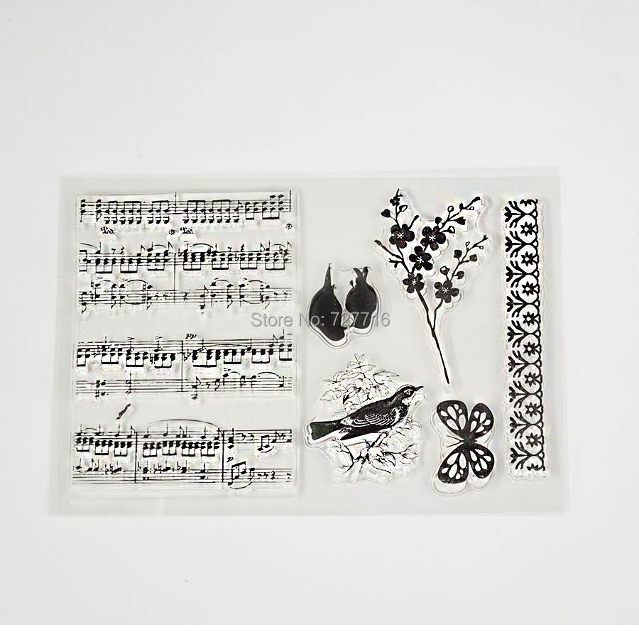 Music Staff Birds Clear Transparent Stamp DIY Scrapbooking/Card Making/Christmas Decoration Supplies(China (Mainland))