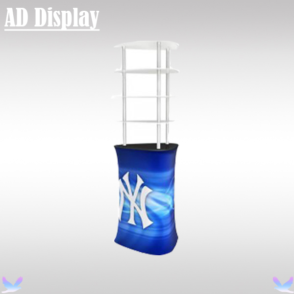 Premium Trade Show Booth Tension Fabric Triangular Counter With Acrylic Display Shelves,Exhibition Advertising Promotion Table(China (Mainland))