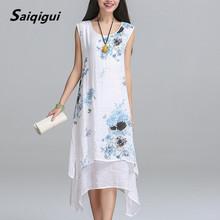 Buy Saiqigui Summer dress New Fashion sleeveless women dress casual cotton Linen dress Printed o-neck plus size vestidos de festa for $11.24 in AliExpress store