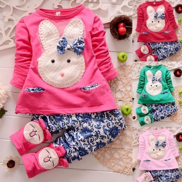 2015 baby girls clothing set kids Cartoon long sleeve clothes suits children Girls T shirt + pants Cute 2 pcs clothes set 34(China (Mainland))