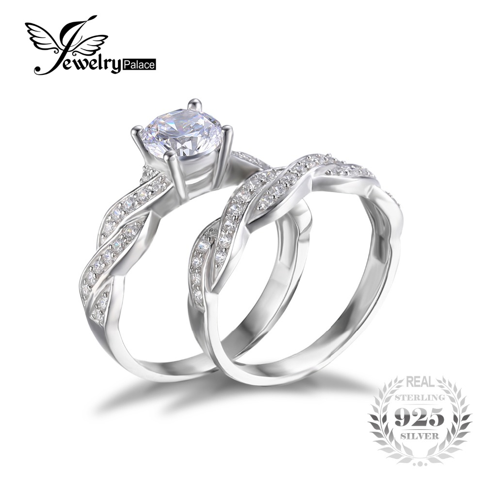 JewelryPalace Infinity Simulated Diamond Anniversary Promise Wedding Band Engagement Ring Bridal Set 925 Sterling Silver Jewelry(China (Mainland))