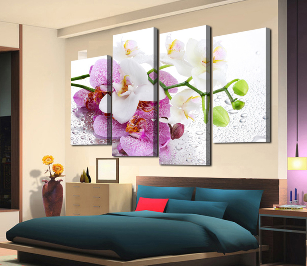 4 pcs hot sell beautifu flowers modern home wall decor for How to buy art for your home