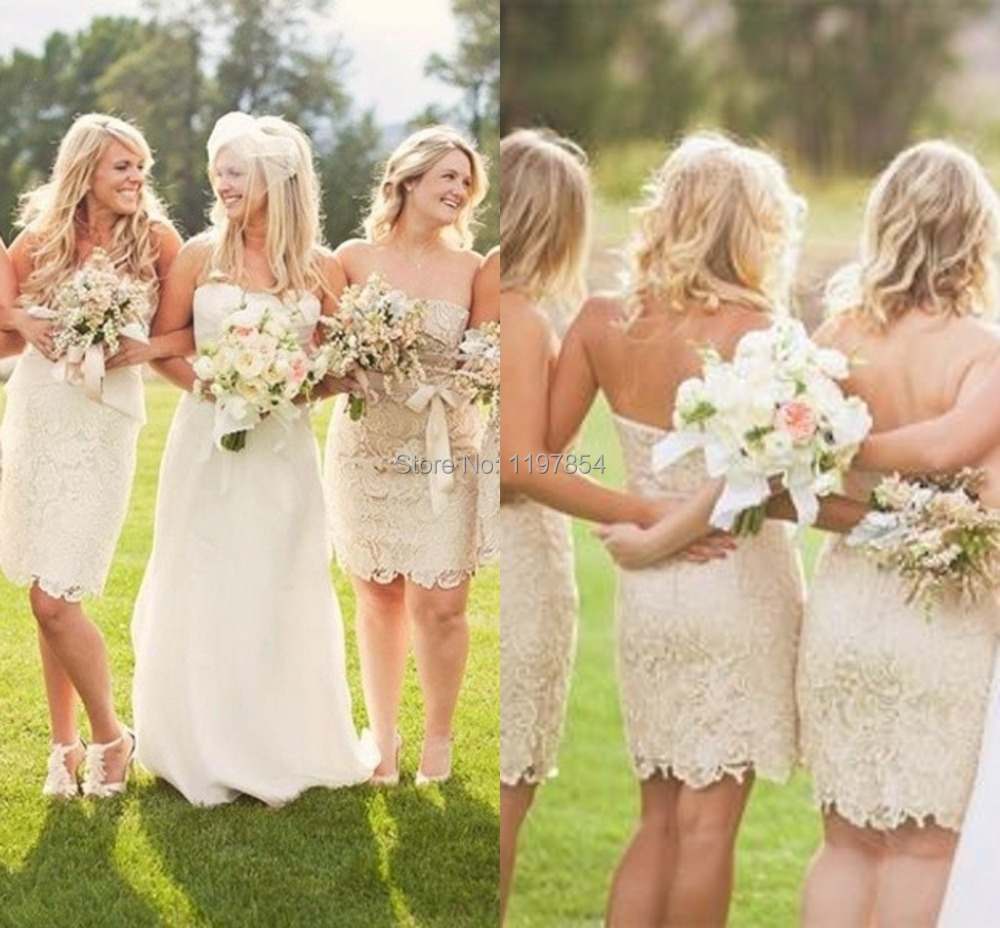 Cream Color Sheath Short Bridesmaid Dress Strapless Short