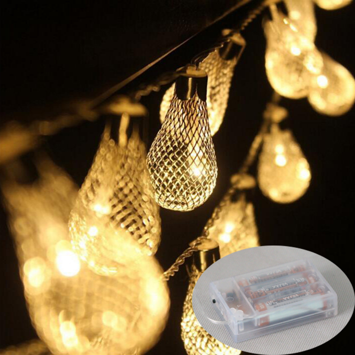 20led Battery Operated LED String Light Metal Hollow Ball Garland Christmas Light fairy Xmas Wedding Festival Home Decoration(China (Mainland))