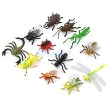Plastic PVC Insect Animal Model Kids Toy 12pcs Multi-color(China (Mainland))