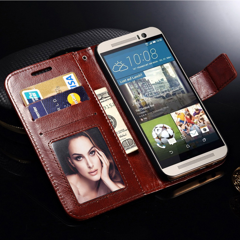 M9 Luxury Wallet PU Leather Case For HTC One M9 Coque Retro Flip with Stand Design Card Slot Hot Sale Phone Bag Back Cover(China (Mainland))