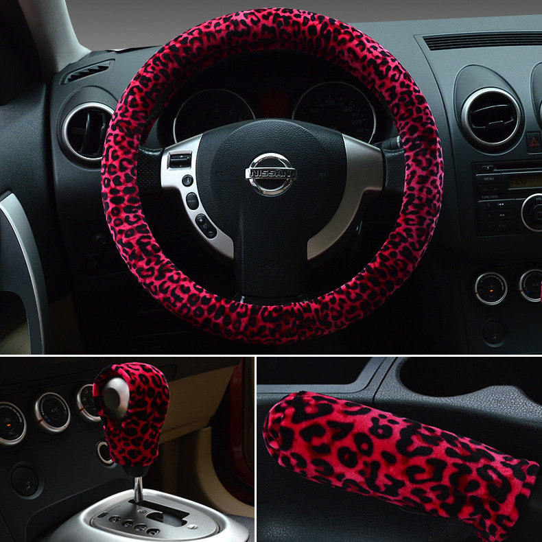 Universal 38cm Leopard Auto Car Steering Wheel Covers+Handbrake jacket+car Automatic Covers for lady women(China (Mainland))