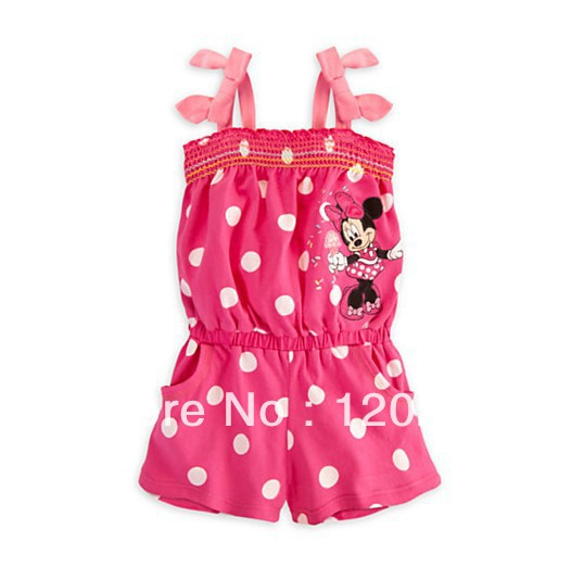 Free Shipping Summer Baby Girls Polka Dot Mickey Bowknot Overalls Suspenders Pants Infants Toddlers Children's Romper Hot Pants(China (Mainland))