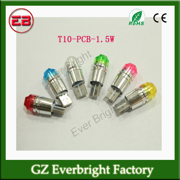 100pc/lot Free Shipping Multicolor T10 PCB 1.5W LED Car Bulbs Signal Light Side Marker Light Parking Light(China (Mainland))