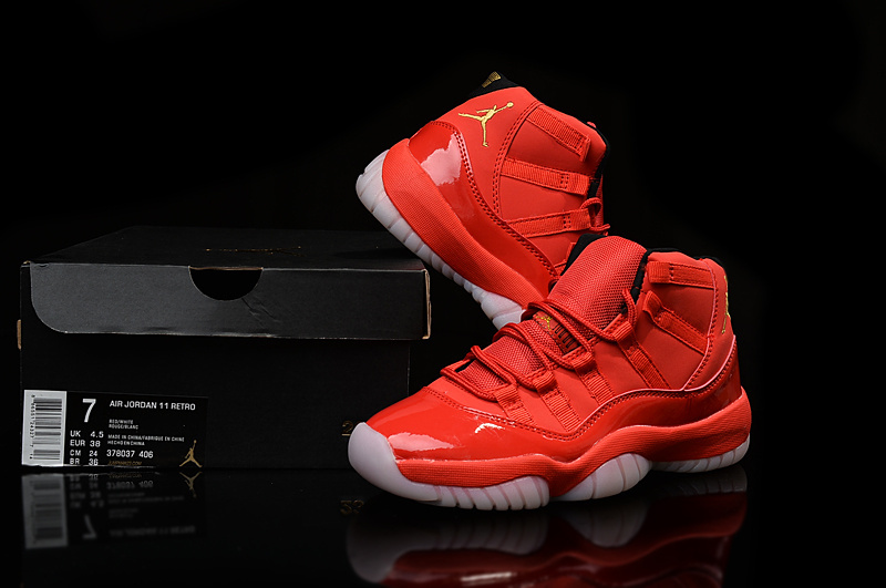 free shipping new 2016 women air jordan 11 xi retro mid 5lab4 red gold with original box for sale woman size US5.5 to 8.5(China (Mainland))