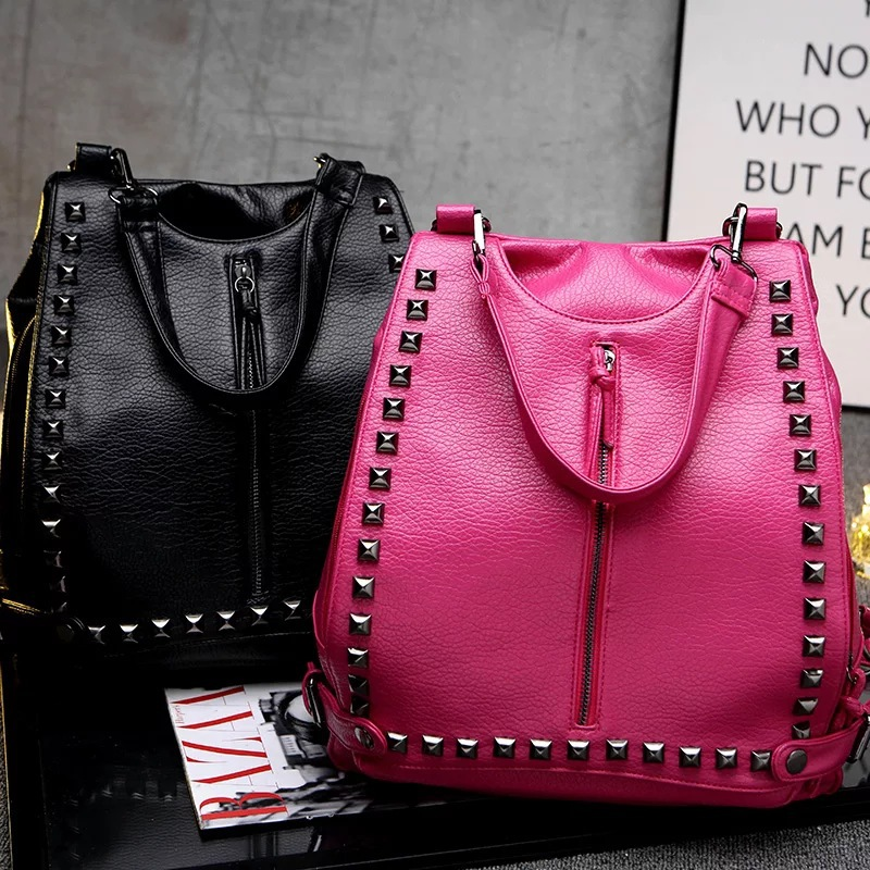 Women backpack 2015 new rivets soft leather shoulder bag Europe and washed leather travel bag messenger shoulder(China (Mainland))