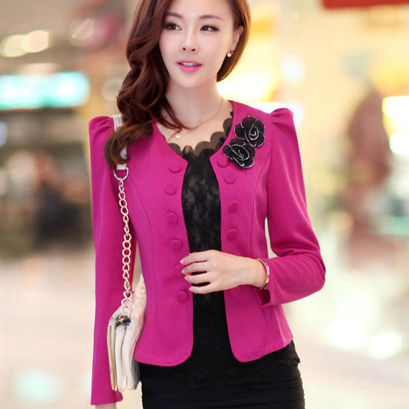 2014 Spring&Autumn Brand women stylish jackets slim blazer elegant OL White/Red Work Coat ladies Cute Suite Outerwear - Pretty Magic Store store