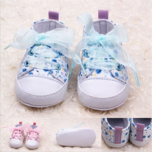 Infant Toddler Kids Girl Floral Soft Soled Crib Lace Up Shoes Walking Sneaker qm(China (Mainland))