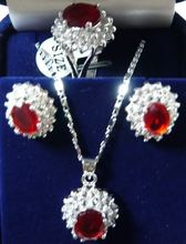 Hot sale new Style >>>>>Charming!14KGP Red Rhinestone necklace Earring ring Sets(China (Mainland))