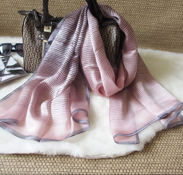 women's silk scarf Plain brief gradient striped mulberry silk Wrap Shawl fashion long design 170*65cm 3 colors(Hong Kong)