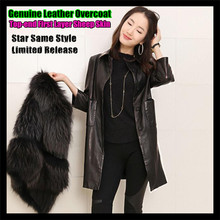 Star Same Style,Top-end Women Long Genuine Leather Overcoat,100% First Layer Sheep Skin,Thin & Light Turn-down Collar Outwear(China (Mainland))