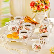 8 pieces royal european style coffee set with tray, bone china tea set, high quality rose theme coffee set