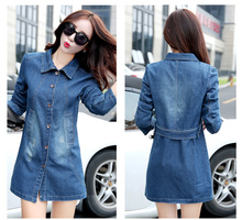 2016 Autumn Fall Women Denim Trench Long Sleeves Casual Fashion Woman Denim Coat Slim Jean Woman Trench coat Outwear Clothing