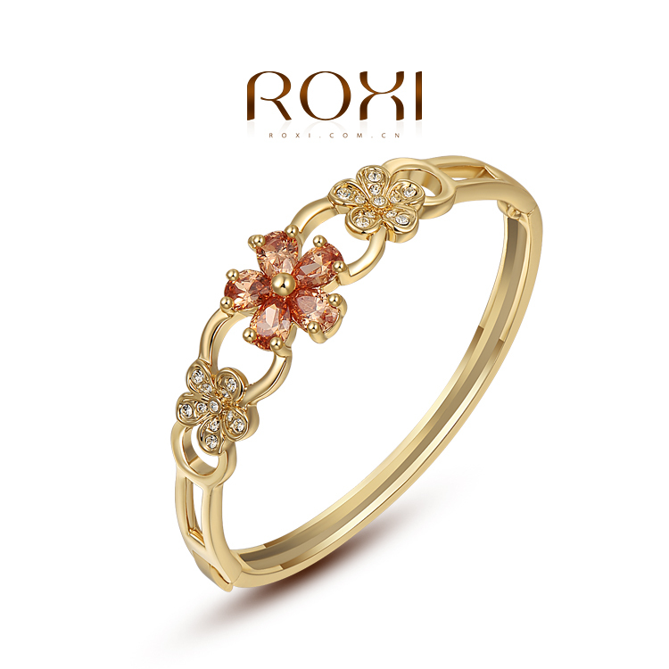 ROXI Best Gift For Girlfriend Genuine Austrian White Crystals Fashion Big OFF Party Yellow Gold Plated Flower Bracelet Jewelry(China (Mainland))
