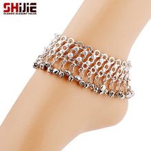 Vintage silver chain ankle bracelet lovely bell foot jewelry anklets for women summer barefoot sandals femme Shijie long anklets