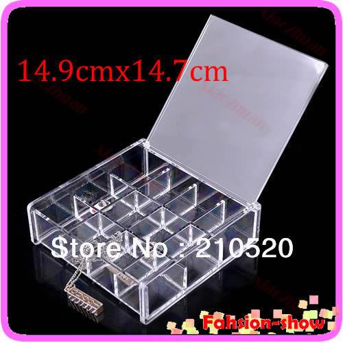 "U95""Hot Sale New 12 Grids Makeup Display Rack Cosmetic Organizers Drawers Cabinet Case Rack Transparent 14.9cmx14.7cm(China (Mainland))"