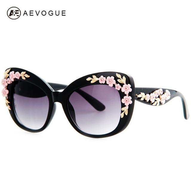 Aevogue новые кошачий глаз бренд солнцезащитных очков женщин маленький цветочный декор высокое качество большая рамка солнцезащитные очки óculos UV400 AE0204