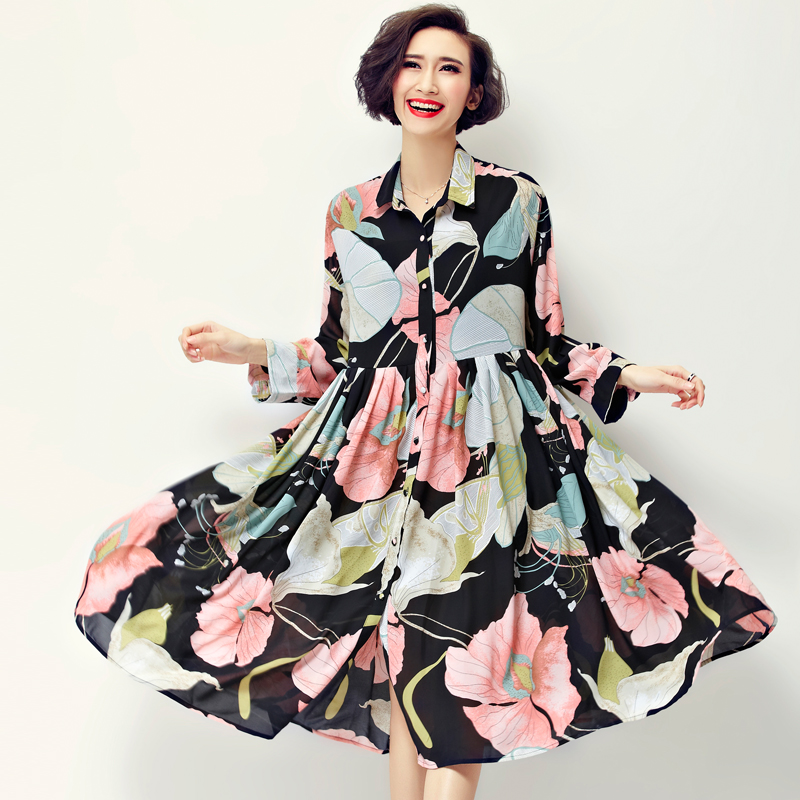 New Arrival 2016 Spring Fashion Floral Print Chiffon Long Shirt Dress Women's Loose Casual Dresses Plus Size Clothing E054