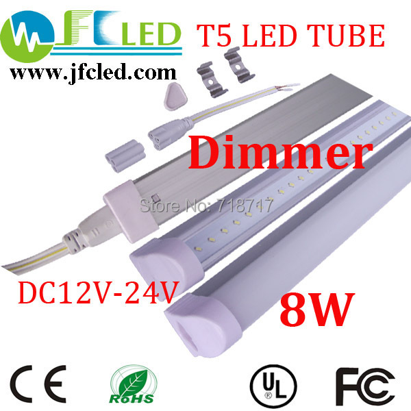 4pcs dimmer led tube t5 600mm/60cm 8w 12v led tube light 24v led solar tube 600-800lm t5 integrated led fluorescent tube(China (Mainland))