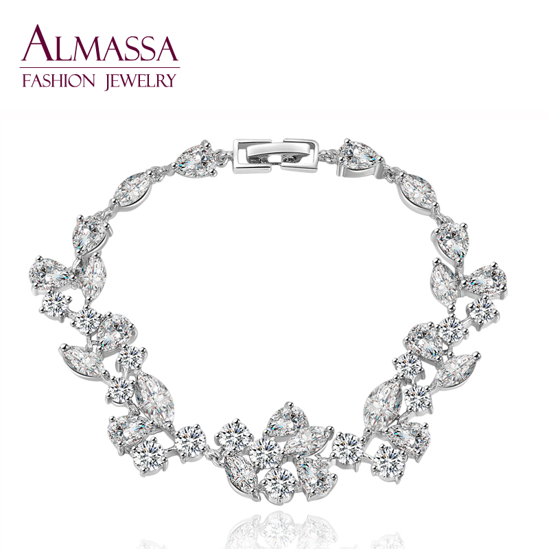 Unique Charm Pulseras ! Marquise &amp; Pear &amp; Round Three Shape AAA+ Swiss Cubic Zirconia Stone Connection Friendship Bracelet<br><br>Aliexpress