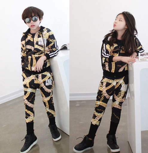 Wholesale - New Fashion Autumn Casual Sport Suits Tracksuits For Kids Gold Chain Printing Hip Hop Outwear Boys Clothing Sets<br><br>Aliexpress