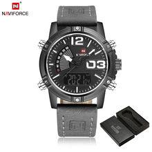 NAVIFORCE hommes montre numérique Sport hommes montre-bracelet Top marque de luxe militaire armée en cuir bande analogique LED Quartz mâle horloge 9095(China)