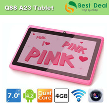 New Arrival Q88 android 4.2 dual cameras allwinner a23 tablet 7 inch cheap tablet in stock,10pcs/lot DHL Free Shipping(China (Mainland))