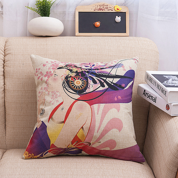 Chinese Style Cotton Linen  Body Pillow Cover Color Anime Pillowcase Soft Cozy Hugging Pillow Cases Home Decorative SD8