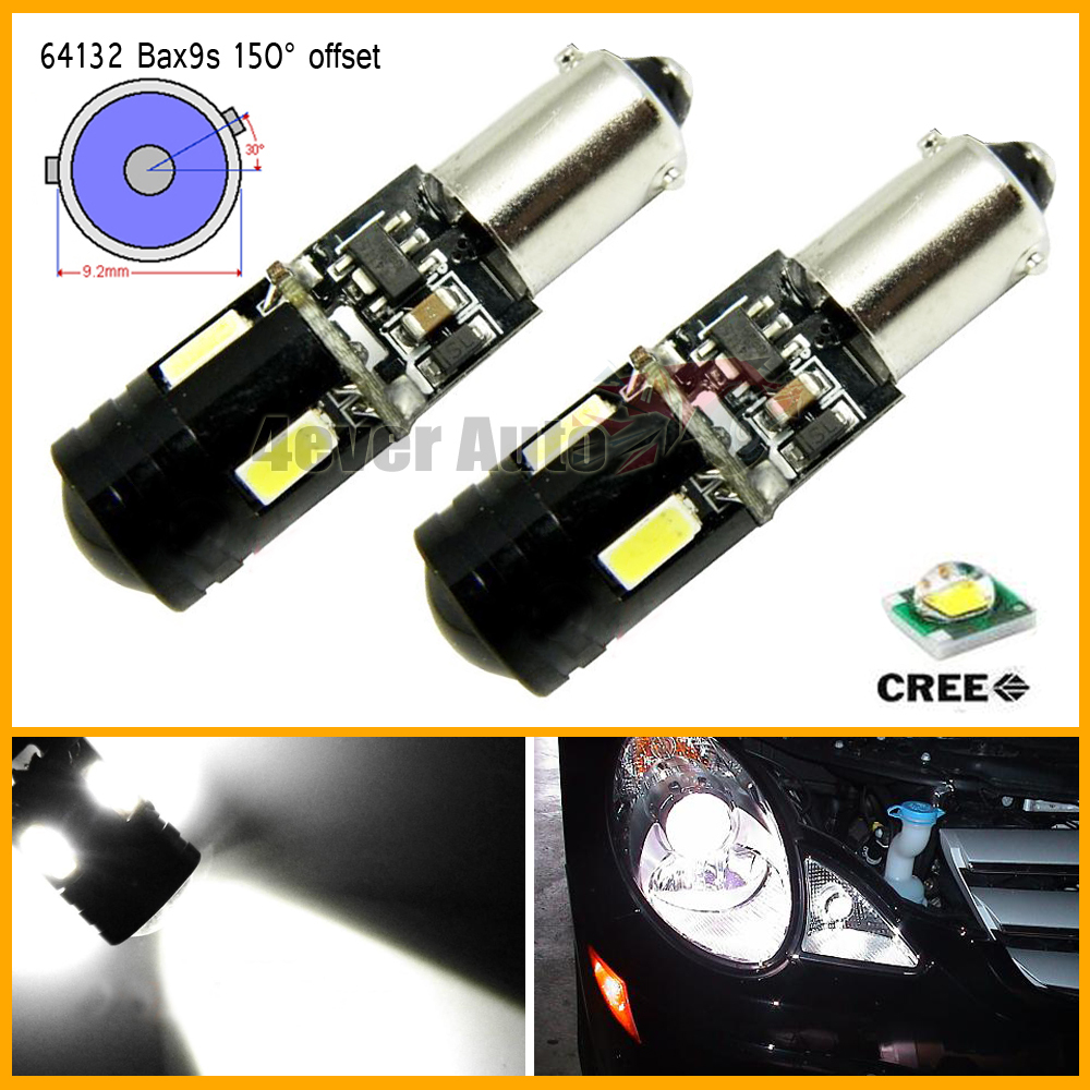 2pcs/lot White Error Free Canbus Bax9s H6W 64132 High Power 9W 4-SMD CREE LED with Lens Bulbs for Backup Parking Lights,etc<br><br>Aliexpress