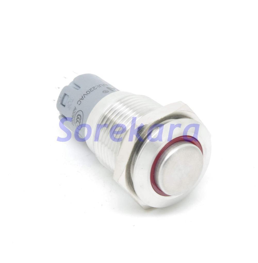 Кнопочный переключатель SOREKARA 16 1 . 1NC IP67 UL 6V/12V/24V/110 /220 16mm кнопочный переключатель new 1 19 led 12v 37180 37181