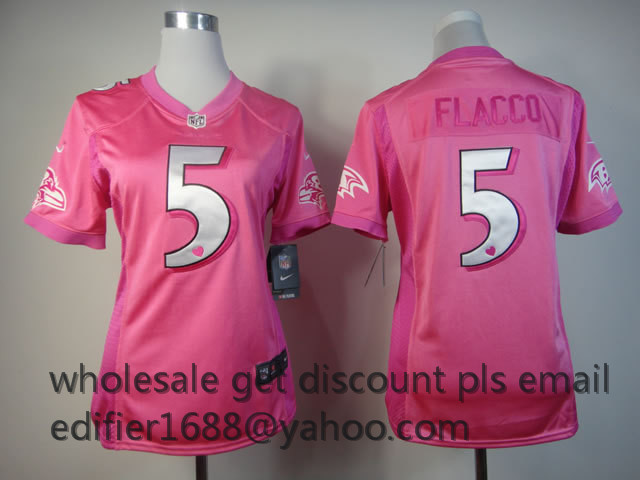100% stitched women pink love Baltimore Ravens ladies 27 Ray Rice 5 Joe Flacco Embroidery Logos size S TO XXL(China (Mainland))