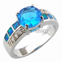 opal jewelry RING with Aquamarine blue CZ stone;fashion opal rings