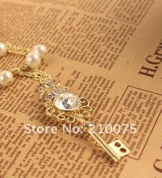 Alloy necklace Gemstone crown key pearl necklace diamond necklace Hotsale women's necklace New arrive wholesale 36pcs/lot E4255