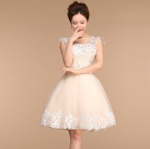 Fashionable New Sweet Lace Short evening dress Ball Gown Champagne robe de mariage prom dresses 2014 soiree E101 - girls romantic wedding store