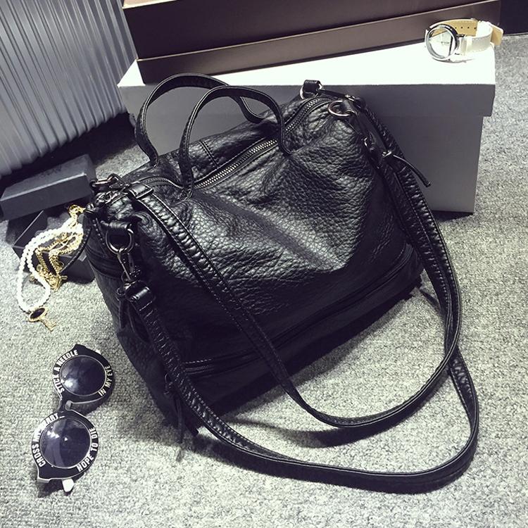 Edhi cat water washed leather bags 2015 female handbag motorcycle bag genuine leather handbag women's messenger bag(China (Mainland))