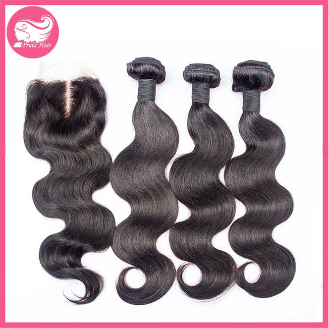4Pcs/lot Virgin Chinese Hair With Closure Middle Part Body Wave Hair With Lace Closure 3pcs Hair Bundles With 1pc Lace Closure<br><br>Aliexpress