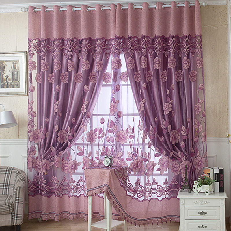 Luxury Kitchen Curtains: 2015 Luxury Jacquard Shade Tulle For Window Sheer Curtains