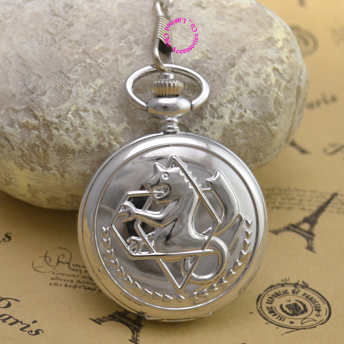 Fullmetal Alchemist Silver Pocket Watch men Cosplay Edward Elric Chain Anime Boys Gift New man fob watches cartoon new hot - Chic Watches store