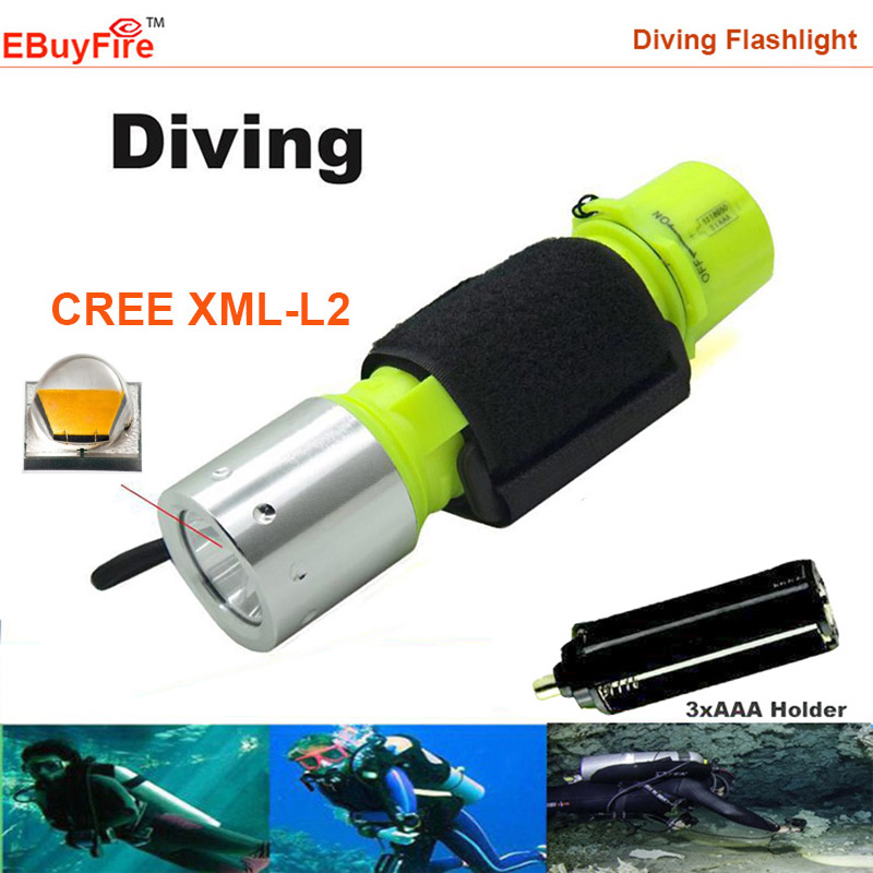 Diving Flashlight underwater 18650 3x AAA Torch CREE XM-L T6 L2 2000LM Waterproof LED light lamp by AAA OR 18650 Battery(China (Mainland))