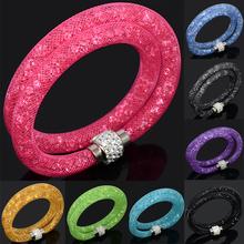 Hot Sale Mesh Net Double Stardust Bracelet Of Fashion Charm Crystal Bracelets For Women Bijoux(China (Mainland))