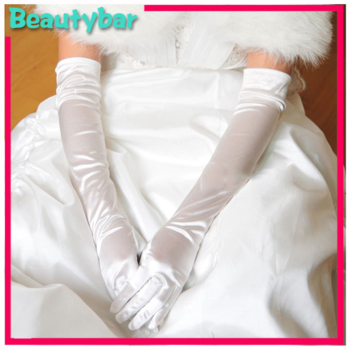 Bridal wedding dress accessories 50cm fingered satin for Wedding dress with long gloves