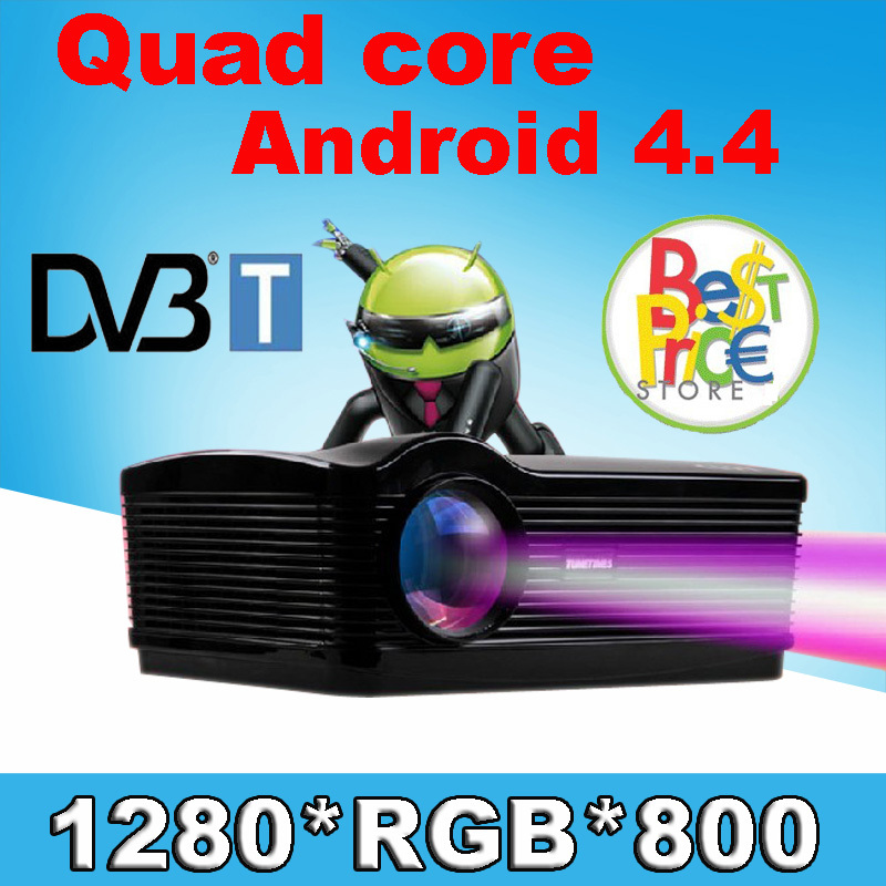 With DVBT TV 5500lumens Android 4.4 1080P wifi led projector full hd 3d home theater lcd video proyector projektor Free Gift(China (Mainland))
