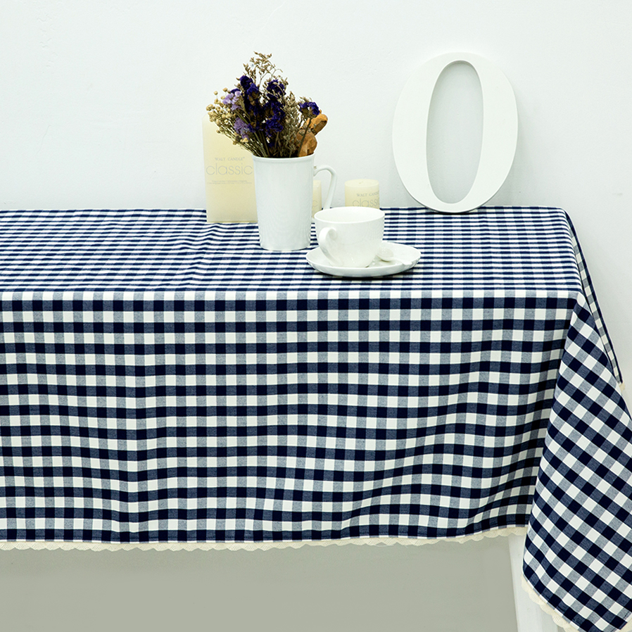 Navy blue Plaid Printed Lace Tablecloth Table Cloth Water Repellent Oil Resistant Mildew Resistant embroidered tablecloth C(China (Mainland))