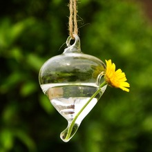 1Pc New Hanging Water Drop Shape Glass Vase Flower Plant Container Pot Home Decor Free Shipping(China (Mainland))