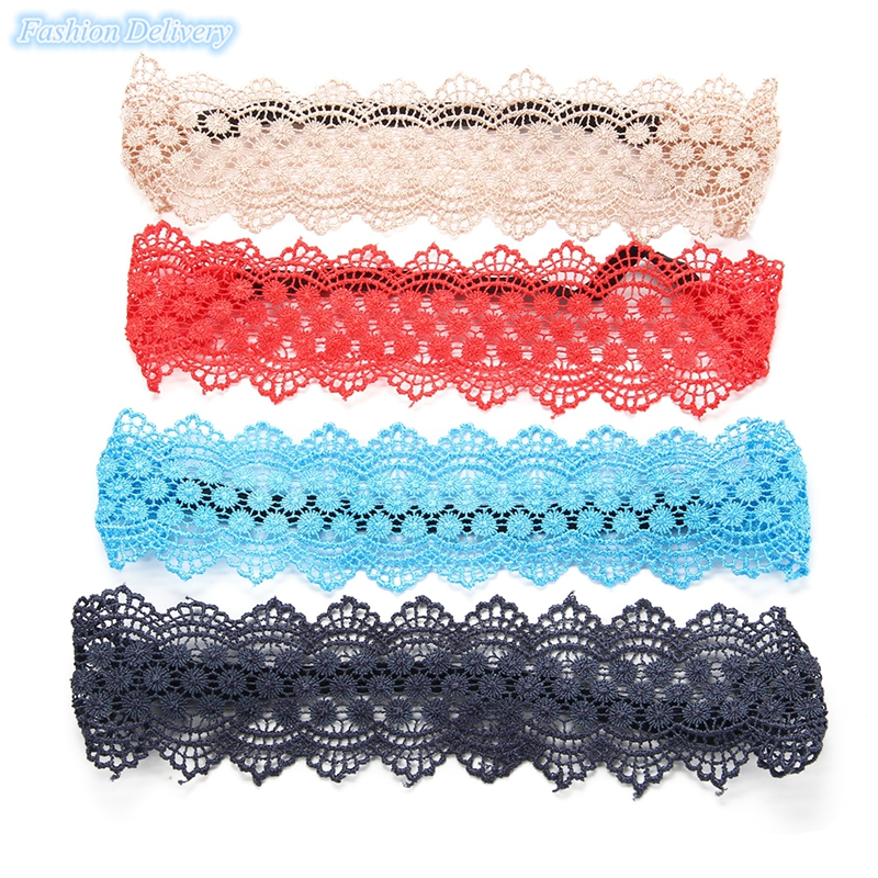 12pcs/Lot Fashion Fabric Lace Wide Stretch Headband Romantic Retro Cotton Head Wrap for Woman&Girl Free Shipping(China (Mainland))